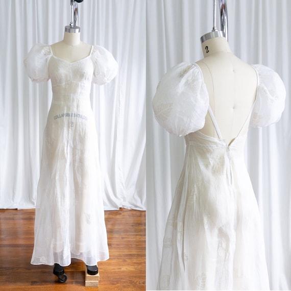 Glynne dress | vintage 30s dress | 1930s sheer wh… - image 1