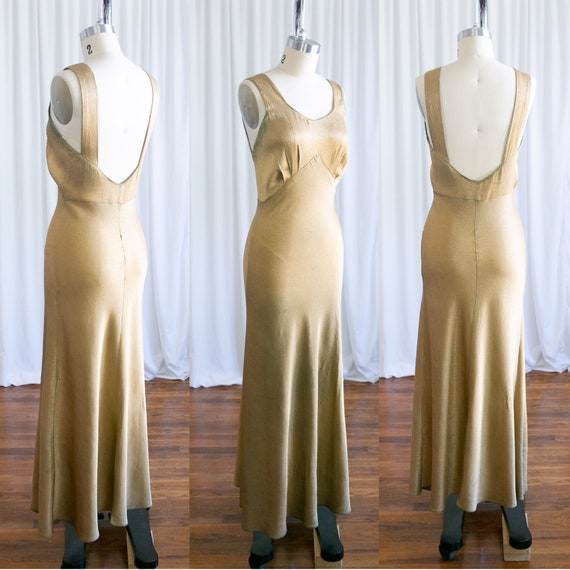 Selene gown | vintage 30s dress | 1930s gold lame… - image 4