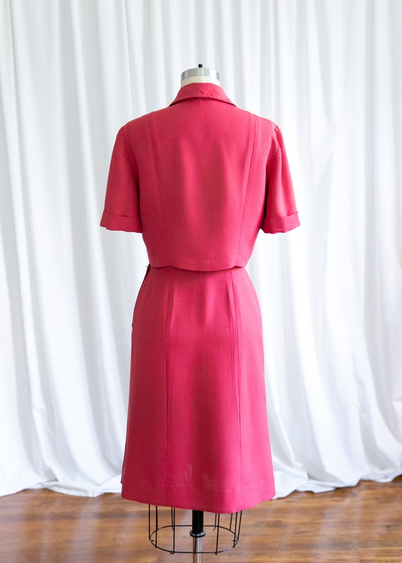 Epcot skirt suit | vintage 40s suit | 1940s red r… - image 7