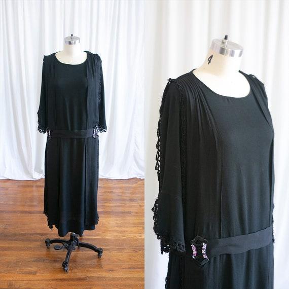 Sybil dress | vintage 20s dress | 1920s black silk