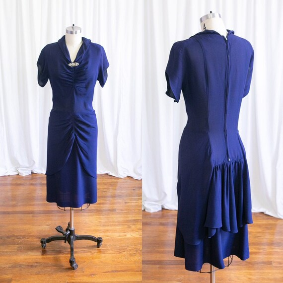 On The Other Hand dress | vintage 40s dress | navy