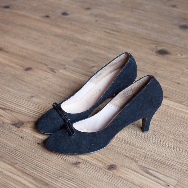 294d88fb0ae Bernice shoes vintage 50s shoes black suede 1950s pumps