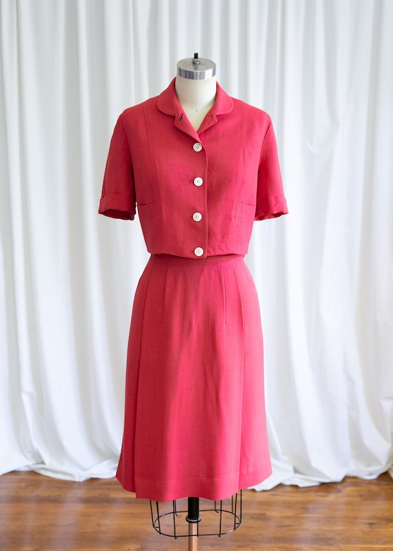 Epcot skirt suit | vintage 40s suit | 1940s red r… - image 2