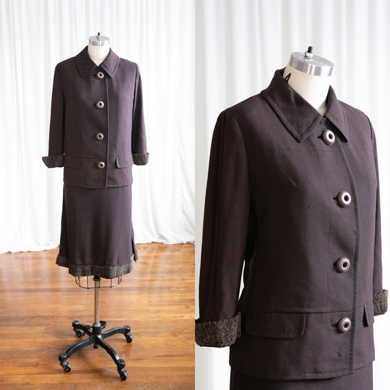 Amelie suit | vintage 60s suit | 1960s brown wool