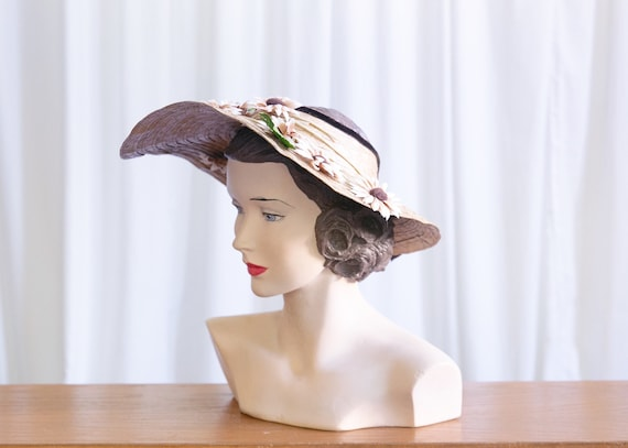 vintage wide brim hat | 1940s straw widebrim hat … - image 3