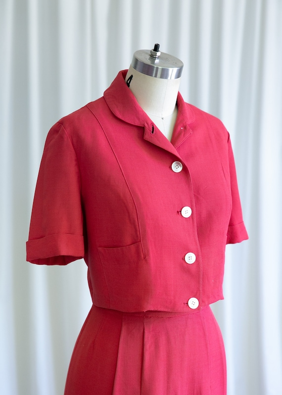 Epcot skirt suit | vintage 40s suit | 1940s red r… - image 6