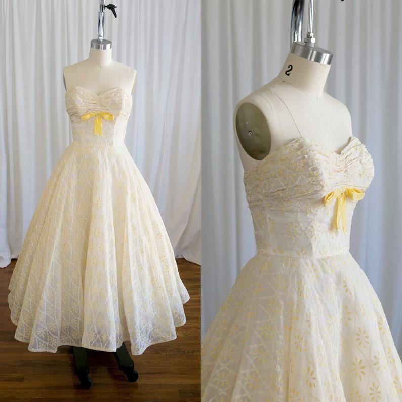 693792c5045 Lemon Love dress vintage 50s dress strapless 50s cupcake
