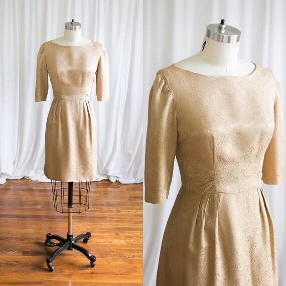 Gilded Rose dress   vintage 60s dress   1960s gold