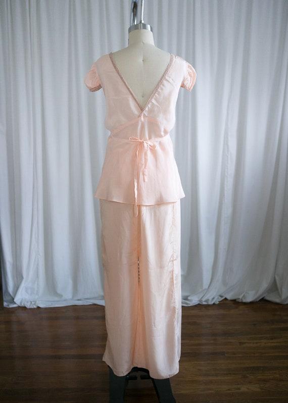4030ec414 Esmee pajamas set vintage 30s lingerie peach silk 1940s