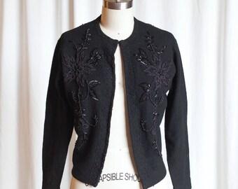 vintage 50s beaded cardigan   1950s black beaded sweater   vintage wool / angora cardigan   The Last Star cardigan