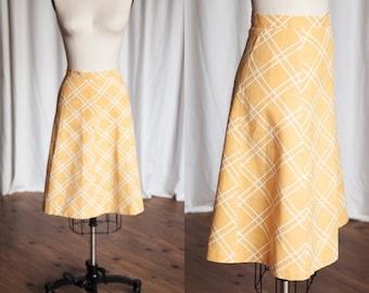 Queen of Argyll skirt   vintage 30s skirt   yellow plaid 1930s / 1940s skirt   vintage bias cut skirt   40s yellow linen summer skirt