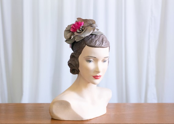 vintage 1940s hat | green velvet topper hat | 1940