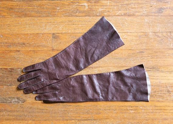 vintage brown leather gloves | 1950s brown kid lea