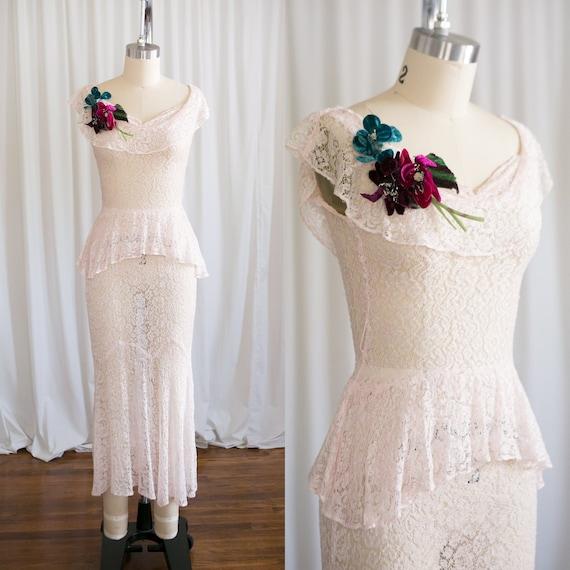 Aithlin dress | vintage 30s dress | pink lace 1930