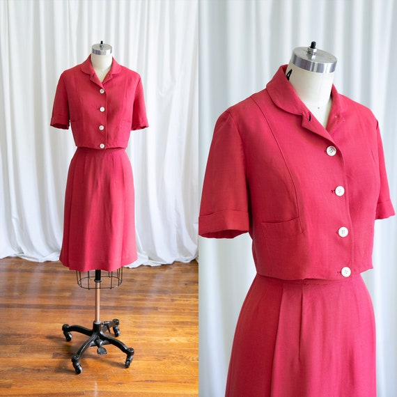 Epcot skirt suit | vintage 40s suit | 1940s red r… - image 1
