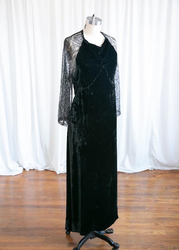 Enigma gown | vintage 30s velvet gown | 1930s bla… - image 5