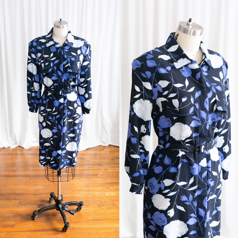 80s Dresses | Casual to Party Dresses Blue Rose Dress  Vintage 80S 1980S Dark Floral Print Shift Breli Originals Navy Blue Rose Belted $11.00 AT vintagedancer.com