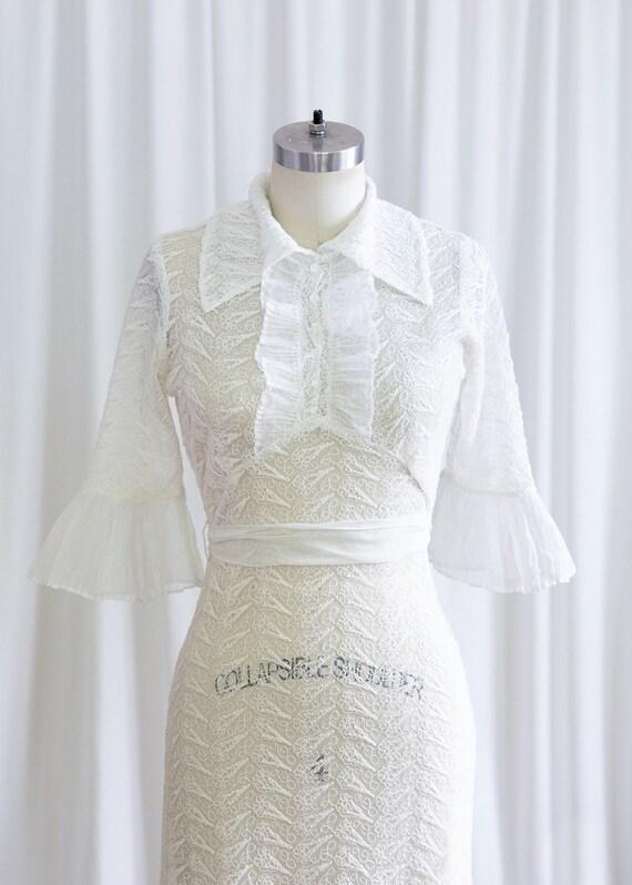 Luna dress   vintage 30s dress   1930s white nett… - image 3