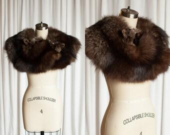 vintage 40s fox fur stole | 1930s / 1940s double fox stole | antique fur stole / cape / shawl / collar | vintage fox fur wrap | vintage furs
