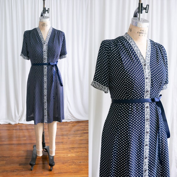 He Loves Me dress   vintage 40s dress   1940s navy
