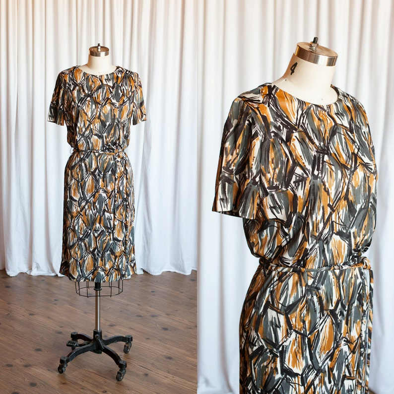 d6e390710aa Chain Link dress vintage 60s dress grey / yellow 60s   Etsy