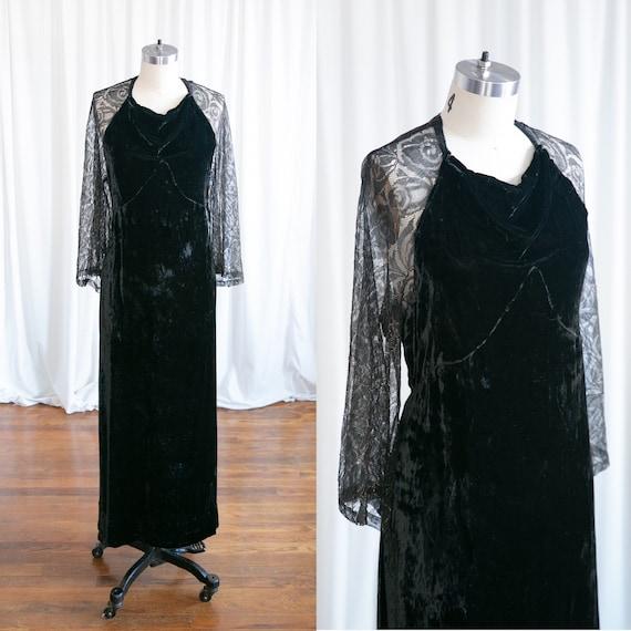 Enigma gown | vintage 30s velvet gown | 1930s blac