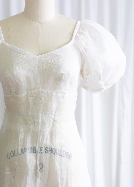 Glynne dress | vintage 30s dress | 1930s sheer wh… - image 4