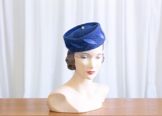 vintage blue felt hat | 1950s pillbox hat | 50s bl