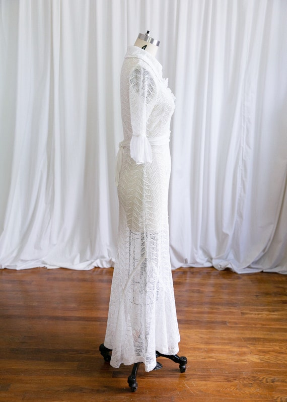 Luna dress   vintage 30s dress   1930s white nett… - image 7