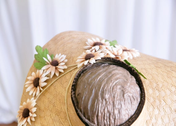 vintage wide brim hat | 1940s straw widebrim hat … - image 6