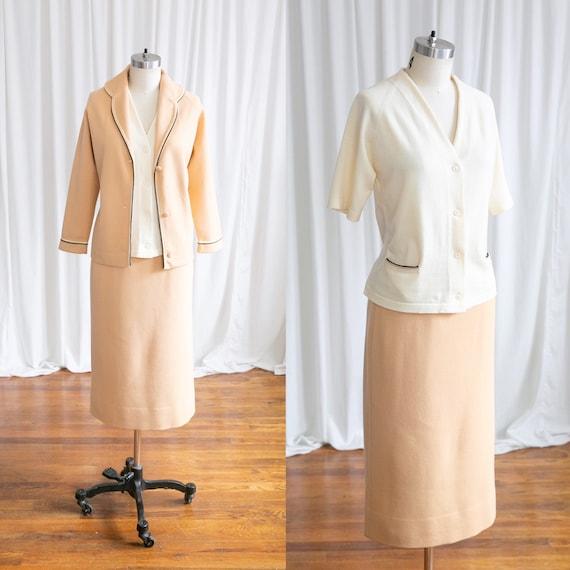 Butternut knit suit | vintage 60s suit | 1960s tan