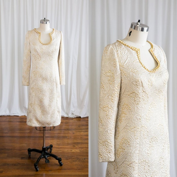 e39a015dbb2 Champagne Toast dress vintage 60s dress 1960s gold quilted   Etsy