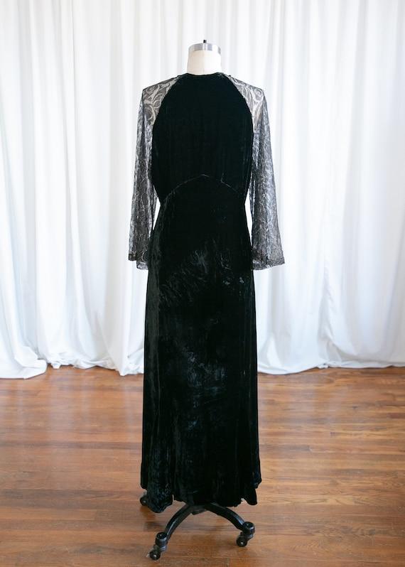Enigma gown | vintage 30s velvet gown | 1930s bla… - image 6