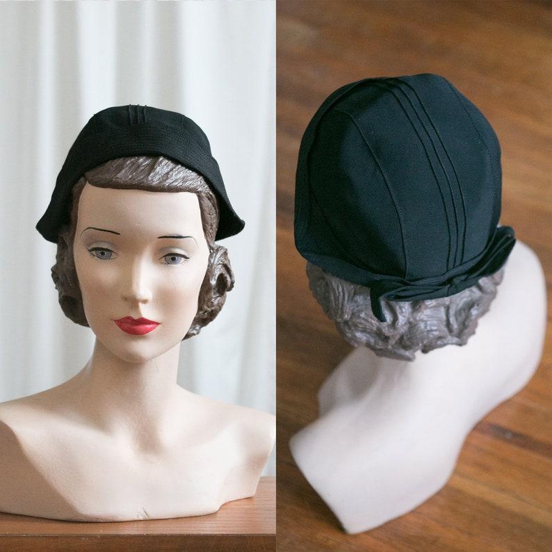 868a9680506a6c Vintage 30s hat black rayon Dutch-style cap 1920s black | Etsy