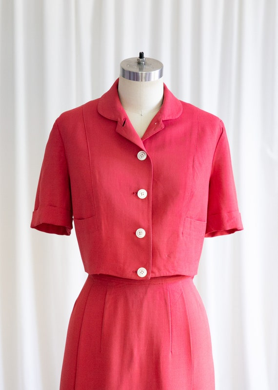 Epcot skirt suit | vintage 40s suit | 1940s red r… - image 3
