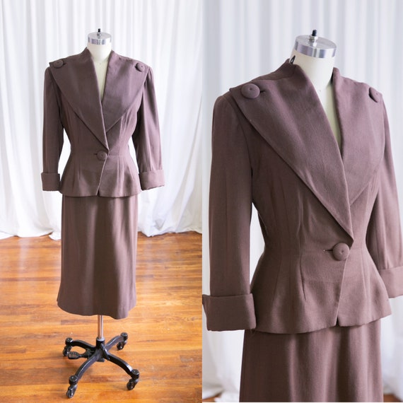 Glendower suit | vintage 40s suit | 1940s brown wo