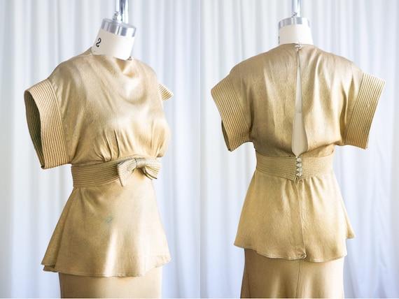 Selene gown | vintage 30s dress | 1930s gold lame… - image 3
