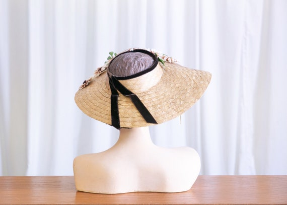 vintage wide brim hat | 1940s straw widebrim hat … - image 5