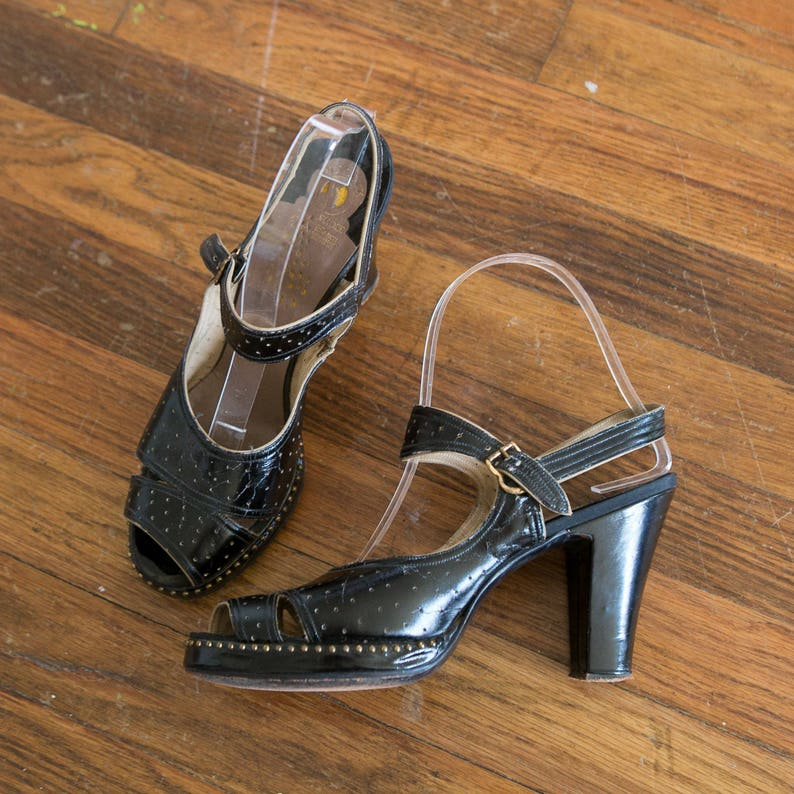 ae55ac7f667f0 Joan shoes | vintage 40s shoes | 1940s black studded leather heels | 40s  platform shoes | vintage 40s peeptoe sandals | 40s heels | sz 6.5 7