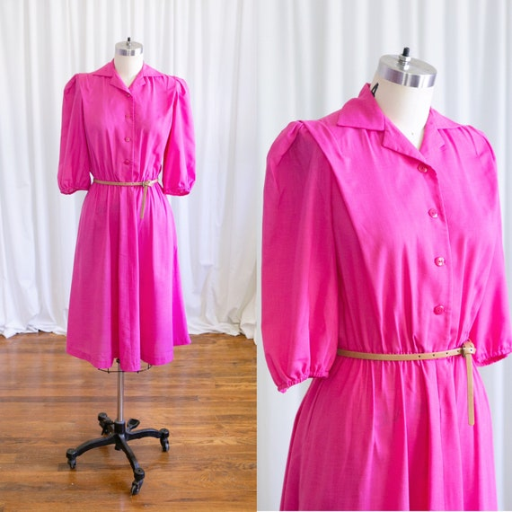 Aimee dress | vintage 80s dress | 1980s fuchsia pi