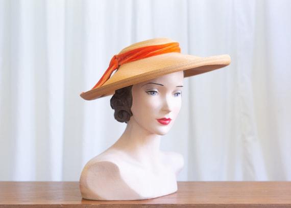 vintage wide brim hat | 1940s straw widebrim hat |