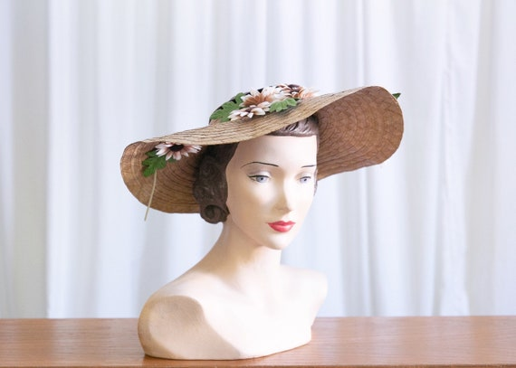 vintage wide brim hat | 1940s straw widebrim hat … - image 1