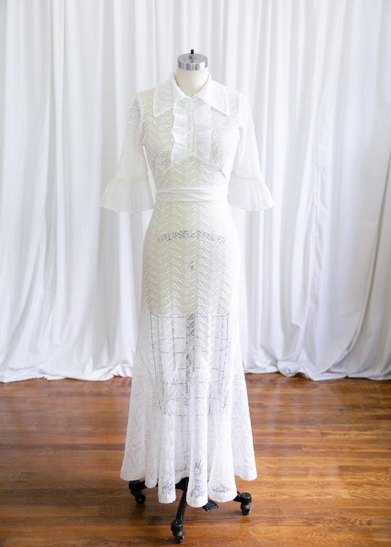 Luna dress   vintage 30s dress   1930s white nett… - image 2