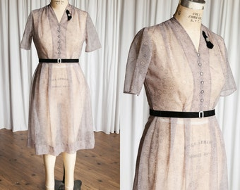 See You Again dress | vintage 50s dress | sheer purple print 1950s dress | vintage purple 50s dress | sheer 50s dress | xl / x large