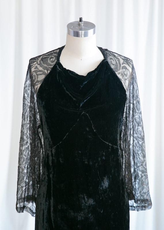 Enigma gown | vintage 30s velvet gown | 1930s bla… - image 3