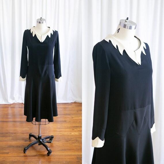 Daisy dress | vintage 30s dress | 1930s black silk