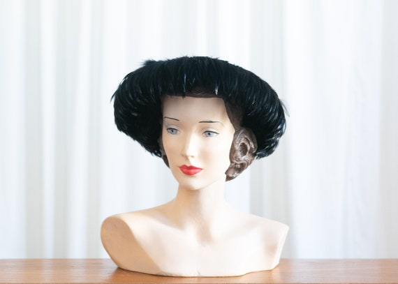 vintage black feather hat | 1950s black feather wi