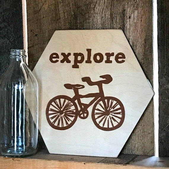 1dd4193d2 Wooden Bike Sign Explore the World