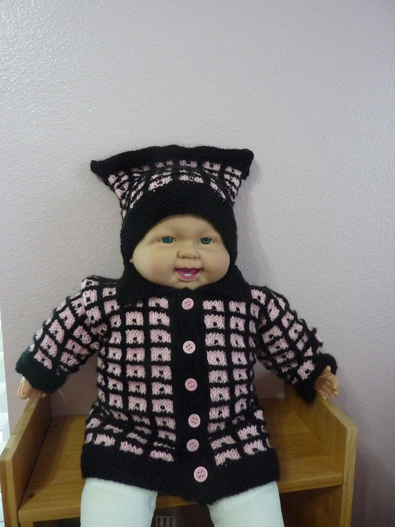 50/'s Retro Color Pink and Black Baby Sweater and hat size 6 month free shipping