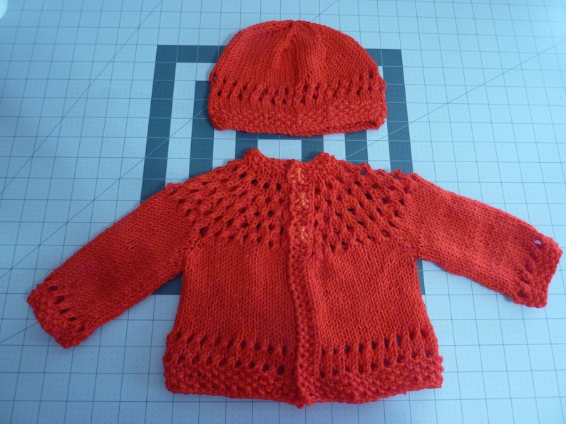 43b29d525fb 3-6 mo. Baby Sweater and Hat knitted eyelet and moss pattern in Red yarn  with Teddybear buttons - Free Shipping